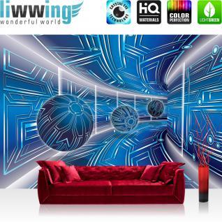 liwwing Vlies Fototapete 208x146cm PREMIUM PLUS Wand Foto Tapete Wand Bild Vliestapete - 3D Tapete Space Raumstation Micro Kugeln blau - no. 3214