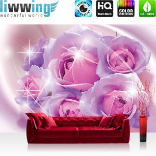 liwwing Vlies Fototapete 416x254cm PREMIUM PLUS Wand Foto Tapete Wand Bild Vliestapete - Blumen Tapete Rosen Blume Blüte Ornamente Liebe lila - no. 2058