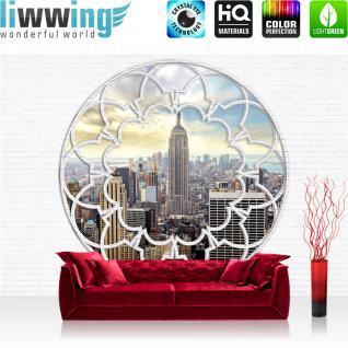 liwwing Fototapete 368x254 cm PREMIUM Wand Foto Tapete Wand Bild Papiertapete - Steinwand Tapete Stein Steinoptik Steine Skyline Empire State Building New York weiß - no. 1634
