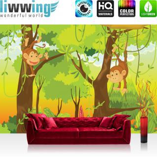 liwwing Vlies Fototapete 200x140 cm PREMIUM PLUS Wand Foto Tapete Wand Bild Vliestapete - JUNGLE ANIMALS MONKEYS - Kinderzimmer Kindertapete Comic Affen Dschungel Äffchen - no. 094