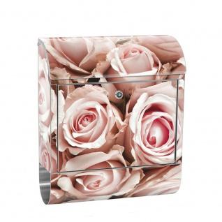Edelstahl Wandbriefkasten XXL mit Motiv & Zeitungsrolle | Blumen Rose Blüten Natur Liebe Love Blüte Weiß | no. 0189
