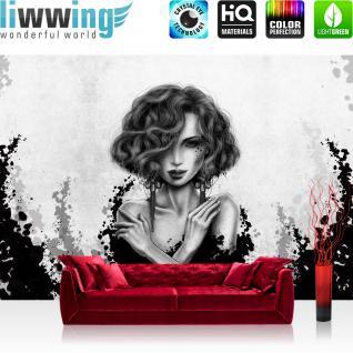 liwwing Vlies Fototapete 254x184cm PREMIUM PLUS Wand Foto Tapete Wand Bild Vliestapete - Kunst Tapete Comic Art Frau Mädchen schwarz - weiß - no. 3554