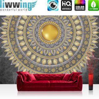 liwwing Vlies Fototapete 368x254cm PREMIUM PLUS Wand Foto Tapete Wand Bild Vliestapete - Ornamente Tapete Mandala Sterne Perlen grau - no. 3235