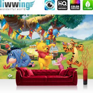 liwwing Fototapete 254x168 cm PREMIUM Wand Foto Tapete Wand Bild Papiertapete - Disney Tapete Disney - Winnie Pooh Kindertapete Cartoon Bär Tigger Ferkel Ballon Geburtstag grün - no. 922