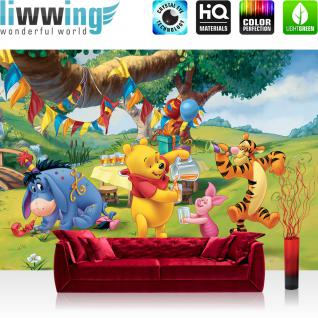 liwwing Vlies Fototapete 350x245 cm PREMIUM PLUS Wand Foto Tapete Wand Bild Vliestapete - Disney Tapete Disney - Winnie Pooh Kindertapete Cartoon Bär Tigger Ferkel Ballon Geburtstag grün - no. 922