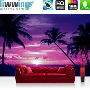 liwwing Vlies Fototapete 416x254cm PREMIUM PLUS Wand Foto Tapete Wand Bild Vliestapete - Sonnenuntergang Tapete Meer Strand Sonnenuntergang Palme Wolken Romantik lila - no. 1950