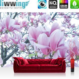 liwwing Fototapete 368x254 cm PREMIUM Wand Foto Tapete Wand Bild Papiertapete - Blumen Tapete Natur Blume Magnolie rosa - no. 1214