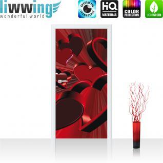 liwwing Türtapete selbstklebend 91x211 cm PREMIUM PLUS Tür Fototapete Türposter Türpanel Foto Tapete Bild - Ornamente Rose rechts Herzen - no. 854