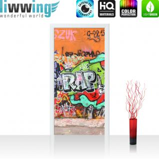liwwing Türtapete selbstklebend 100x211 cm PREMIUM PLUS Tür Fototapete Türposter Türpanel Foto Tapete Bild - GRAFFITI STONE WALL - Kinderzimmer Graffiti Streetart Graffitti Sprayer 3D bunt - no. 032