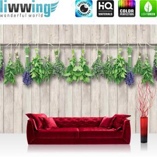 liwwing Vlies Fototapete 312x219cm PREMIUM PLUS Wand Foto Tapete Wand Bild Vliestapete - Pflanzen Tapete Kräuter Holzwand braun - no. 3202