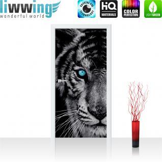 liwwing Türtapete selbstklebend 91x211 cm PREMIUM PLUS Tür Fototapete Türposter Türpanel Foto Tapete Bild - Tiger Gesicht Auge - no. 426