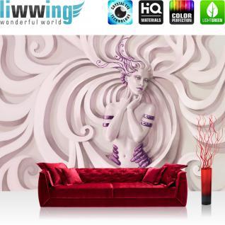 liwwing Fototapete 368x254 cm PREMIUM Wand Foto Tapete Wand Bild Papiertapete - Kulinarisches Tapete Ornamente Frau Kunst Schnörkel Erotik rosa - no. 2143