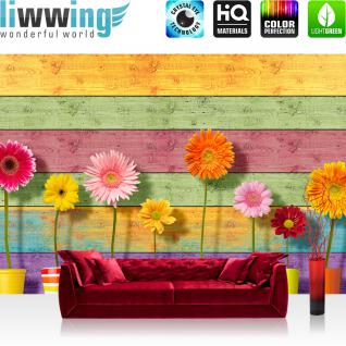 liwwing Vlies Fototapete 416x254cm PREMIUM PLUS Wand Foto Tapete Wand Bild Vliestapete - Blumen Tapete Sonnenblumen Blüten Holzwand Holzoptik bunt - no. 1552