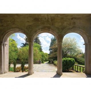 Fototapete Architektur Tapete Bäume Wald Bogen Wolken grün grün | no. 336