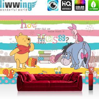 liwwing Fototapete 368x254 cm PREMIUM Wand Foto Tapete Wand Bild Papiertapete - Disney Tapete Disney - Winnie Pooh Kindertapete Cartoon Bär Spielzeug gelb - no. 1120