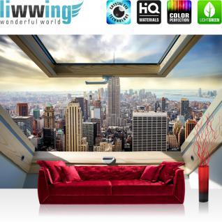 liwwing Vlies Fototapete 368x254cm PREMIUM PLUS Wand Foto Tapete Wand Bild Vliestapete - Skylines Tapete Manhattan Hudson River Fenster bunt - no. 3324