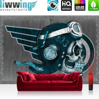 liwwing Vlies Fototapete 400x280 cm PREMIUM PLUS Wand Foto Tapete Wand Bild Vliestapete - Illustrationen Tapete Alchemy - Deadly Ace Totenkopf Helm Brille Flügel grau - no. 328