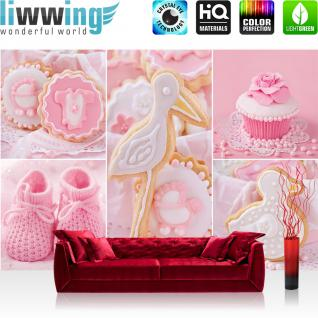 liwwing Vlies Fototapete 208x146cm PREMIUM PLUS Wand Foto Tapete Wand Bild Vliestapete - Mädchen Tapete Cupcake Storch Baby Babyschuhe Kekse rosa - no. 3338