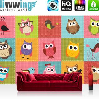 liwwing Vlies Fototapete 416x254cm PREMIUM PLUS Wand Foto Tapete Wand Bild Vliestapete - Kindertapete Tapete Eule Vogel Kacheln Brille Schleife bunt - no. 2090