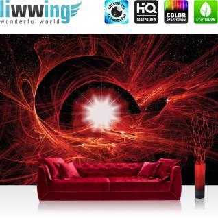 liwwing Vlies Fototapete 350x245 cm PREMIUM PLUS Wand Foto Tapete Wand Bild Vliestapete - Kunst Tapete Abstrakt Super Nova rot - no. 505