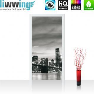 liwwing Türtapete selbstklebend 91x211 cm PREMIUM PLUS Tür Fototapete Türposter Türpanel Foto Tapete Bild - New York Bridge Lightning - no. 269
