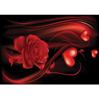 Fototapete Ornamente Tapete Rose Blume Blüte Blätter Herzen Schnörkel Liebe Schwung Nebel rot | no. 874