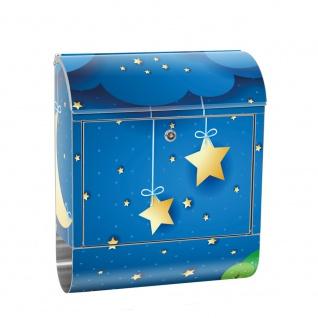 Edelstahl Wandbriefkasten XXL mit Motiv & Zeitungsrolle   Kinder Sternenhimmel Stars Sterne Nachthimmel Mond   no. 0120