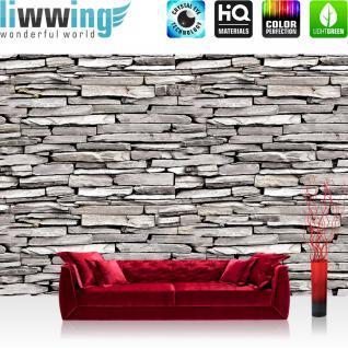 liwwing Vlies Fototapete 350x245 cm PREMIUM PLUS Wand Foto Tapete Wand Bild Vliestapete - Steinwand Tapete Steine Muster Mauer grau grau - no. 424