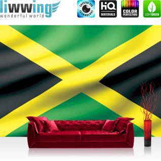 liwwing Vlies Fototapete 416x254cm PREMIUM PLUS Wand Foto Tapete Wand Bild Vliestapete - Geographie Tapete Flagge Fahne Jamaika Land Welt gelb - no. 1928