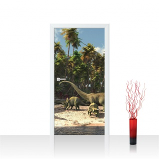 Türtapete - Dinosaurier Strand Palmen   no. 447