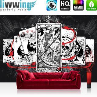liwwing Fototapete 254x168 cm PREMIUM Wand Foto Tapete Wand Bild Papiertapete - Illustrationen Tapete Alchemy - Ace of Spades Karten Totenköpfe schwarz - no. 331