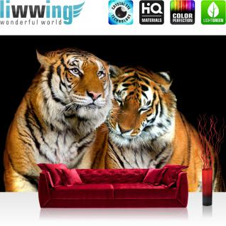 liwwing Vlies Fototapete 350x245 cm PREMIUM PLUS Wand Foto Tapete Wand Bild Vliestapete - Tiere Tapete Tiger Streifen schwarz orange braun braun - no. 322