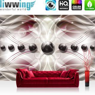 liwwing Fototapete 368x254 cm PREMIUM Wand Foto Tapete Wand Bild Papiertapete - Ornamente Tapete Ornamente Abstrakt Perlen Streifen Linien Schwung Muster grau - no. 961