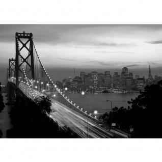 Fototapete USA Tapete Brücke Himmel Lightning San Francisco Skyline Nacht Golden Bridge schwarz-weiß | no. 1010