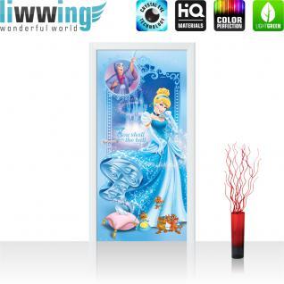 liwwing Türtapete selbstklebend 91x211 cm PREMIUM PLUS Tür Fototapete Türposter Türpanel Foto Tapete Bild - DISNEY Cinderella Kindertapete Cartoon Prinzessin Mäuse Fee - no. 1091