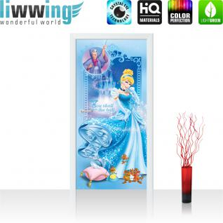 liwwing Vlies Türtapete 91x211 cm PREMIUM PLUS Tür Fototapete Türposter Türpanel Foto Tapete Bild - DISNEY Cinderella Kindertapete Cartoon Prinzessin Mäuse Fee - no. 1091