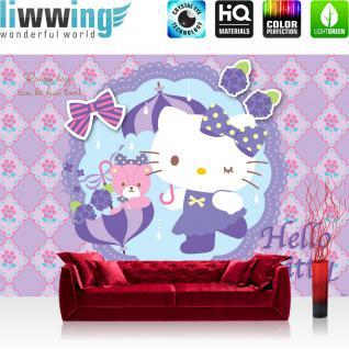 liwwing Vlies Fototapete 350x245 cm PREMIUM PLUS Wand Foto Tapete Wand Bild Vliestapete - Mädchen Tapete Hello Kitty - Kindertapete Cartoon Katze Blumen Schleife lila - no. 509