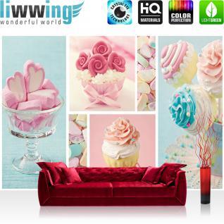 liwwing Vlies Fototapete 300x210 cm PREMIUM PLUS Wand Foto Tapete Wand Bild Vliestapete - Speisen Tapete Cupcake Herz Rose Marshmallow rosa blau - no. 412