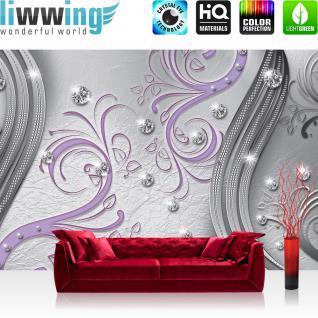 liwwing Fototapete 368x254 cm PREMIUM Wand Foto Tapete Wand Bild Papiertapete - Ornamente Tapete Mandala Perle Knopf Schnörgel Muster Design Ranke Vintage grau - no. 554