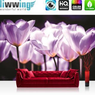 liwwing Fototapete 254x168 cm PREMIUM Wand Foto Tapete Wand Bild Papiertapete - Blumen Tapete Blume Blüte Wasser Spiegelung Blätter lila - no. 2469