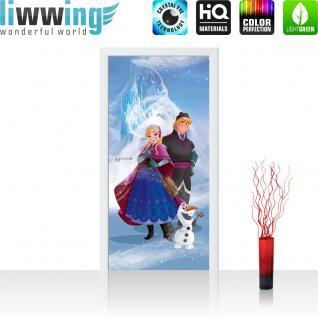 liwwing Türtapete selbstklebend 91x211 cm PREMIUM PLUS Tür Fototapete Türposter Türpanel Foto Tapete Bild - DISNEY Frozen Anna Olaf Kindertapete Prinzessin Eisberg - no. 1124