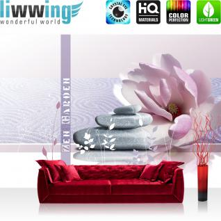liwwing Vlies Fototapete 300x210 cm PREMIUM PLUS Wand Foto Tapete Wand Bild Vliestapete - Wellness Tapete Steine Blüte Balance Romantik Ornamente Blumen Kunst rosa - no. 283