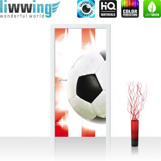 liwwing Vlies Türtapete 91x211 cm PREMIUM PLUS Tür Fototapete Türposter Türpanel Foto Tapete Bild - Fussball Ball Sterne - no. 1034