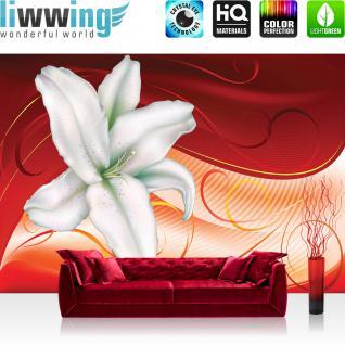 liwwing Vlies Fototapete 350x245 cm PREMIUM PLUS Wand Foto Tapete Wand Bild Vliestapete - Ornamente Tapete Blume Blüte Linien Schnörkel Streifen Schwung weiß - no. 880