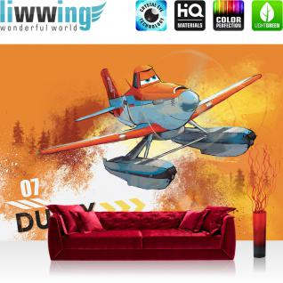liwwing Fototapete 368x254 cm PREMIUM Wand Foto Tapete Wand Bild Papiertapete - Cartoon Tapete Disney Planes Kindetapete Flugzeug Dusty orange - no. 2640