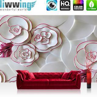 liwwing Fototapete 368x254 cm PREMIUM Wand Foto Tapete Wand Bild Papiertapete - Kunst Tapete Rosen Blüten Malerei Kunst Porzellan weiß - no. 2434