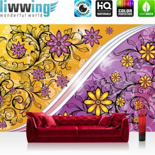 liwwing Vlies Fototapete 416x254cm PREMIUM PLUS Wand Foto Tapete Wand Bild Vliestapete - Blumen Tapete Blüten Blätter Schnörkel lila - no. 2110