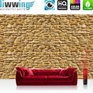 liwwing Fototapete 254x168 cm PREMIUM Wand Foto Tapete Wand Bild Papiertapete - Steinwand Tapete Stein Steinoptik Stein Steine Wand ocker - no. 1491