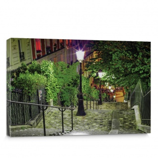 Leinwandbild Treppe Laterne Bäume Nacht Stadt | no. 1348