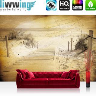 liwwing Vlies Fototapete 208x146cm PREMIUM PLUS Wand Foto Tapete Wand Bild Vliestapete - Strand Tapete Muster Meer Schrift Vintage sepia - no. 1291